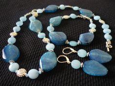 Conjunto agata azul., Bisutería, Collares