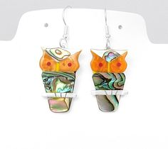 Natural Abalone Owl Búho Buho Silver Earrings Taxco Mexico #Handmade #Owl