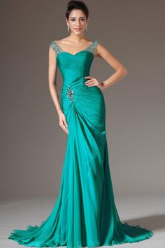 2014 Off The Shoulder Pleated Bodice Sheath/Column Beaded #Prom #Dress Court Train