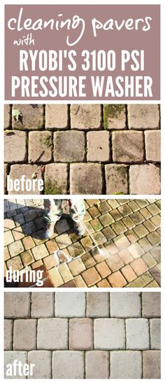 """Cleaning Concrete Pavers with RYOBI's 3100 PSI Pressure Washer   Incredible before, during, and after shots of concrete pavers getting a new lease on life thanks to this pressure washer. No wonder it has been dubbed """"The Miracle Maker.""""  Post includes 3 videos of the pressure washer in action!  Astounding results!"""