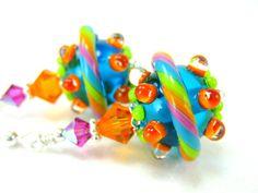 Colorful Glass Bead Earrings, Neon Blue Orange Green Pink Lampwork Bead Earrings, Neon Earrings - Neon Spaceship