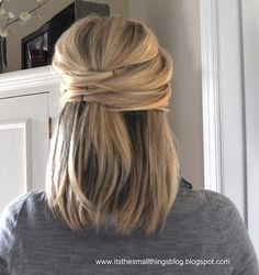 Mid-Length Hair Style by a cute Hairstylist in NC! Includes video tutorial! http://www.thesmallthingsblog.com/2011/09/elegant-half-up.html