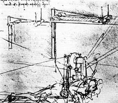 Leonardo da Vinci, a flat four winged ornithopter with the pilot moving his legs by turns, 1486-90