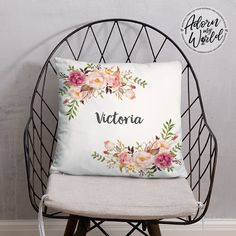 Personalized Name Pillow, Floral Throw Pillow, Custom Pillow, Name Cushion, Baby Girl Gift, Gift for Her, Floral Name Pillow, Gift for Girl