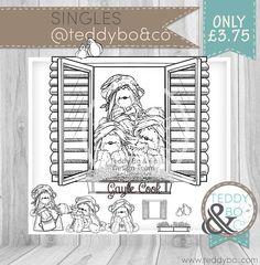 Teddy Bea_099 Window Bear digi stamp