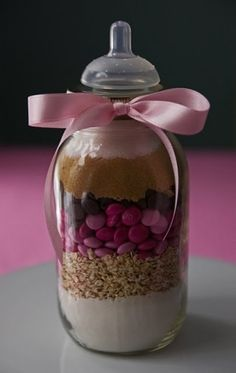 this could be a gift for the game winner- cookie or hot chocolate mix in a mason jar with a nipple to look like a bottle