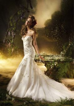 Fit-N-Flare Strapless/ Sweetheart Floor Length Attached Tulle Beading/ Embroidery Wedding Dress Style 3002