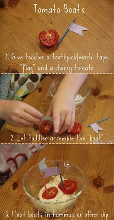 Easy toddler food crafts: Tomato Boats in hummus