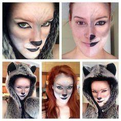 Wolf or cat makeup for Halloween. Halloween Looks, Couple Halloween, Halloween Costumes For Kids, Halloween Makeup, Halloween Ideas, Halloween Crafts, Halloween Decorations, Wolf Makeup, Animal Makeup
