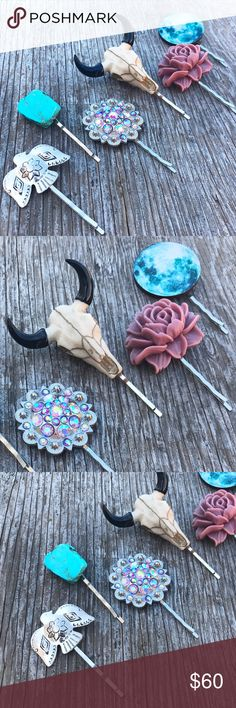 'Wild Heart' Boho Hair Pin Set➳❥ This listing is for all 6 bobby pinsYou will receive 1 silver thunderbird, 1 genuine turquoise stone, 1 western style berry concho, 1 longhorn cow skull, 1 blooming cabbage rose and 1 wooden full moon. Bobby pins are extra strength. All are handmade by me. This set is one of a kind. Will come gift wrapped. Bundle & save 15% on 3+ itemsTags: bohemian, country, rustic, southwestern, aztec, summer, fall, winter, gypsy, eagle, Floral, vintage, flowers Abbie's…