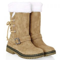 Vintage Suede and Buckle Design Snow Boots For Women (KHAKI,39) in Boots | DressLily.com