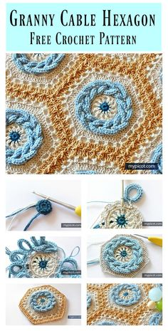 This crochet blanket uses a unique approach to colors and shapes to create stunning effects. This Granny Cable Hexagon Blanket Free Crochet Pattern shows you how to crochet a wonderful eye-catching blanket. Runbox > 📌 18 Granny square blanket Pins to c Crochet Afghans, Motifs Afghans, Afghan Crochet Patterns, Crochet Blankets, Knitting Patterns, Free Knitting, Baby Knitting, Knitting Ideas, Crocheting Patterns