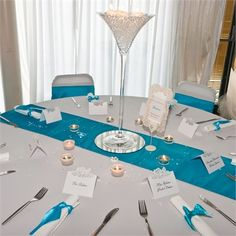 Turquoise Runner Black Table Cloth Silver Chargers Centerpiece Weddings Pinterest Centerpieces Wedding And