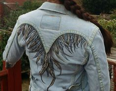 Items similar to Winged Heart woman's denim jacket. Hand painted, bleached on Etsy