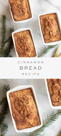 An easy Cinnamon Bread Recipe that is perfect for breakfast, snacks and gifting to friends, neighbors and co-workers! This Christmas bread makes a beautiful gift wrapped into inexpensive giftable loaf pans. Breakfast Recipes, Breakfast Snacks, Dessert Recipes, Easy Cinnamon Bread Recipe, Bread Recipes, Baking Recipes, Cake Recipes, Christmas Bread, Homemade Christmas