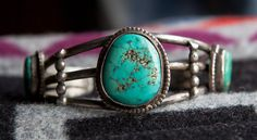 Fantastic Big Old Pawn Navajo Vintage Sterling Silver & Turquoise Cuff on Etsy, $260.00