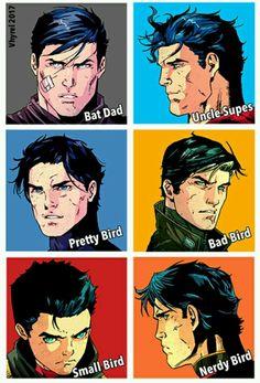 Batman Superman Dick Grayson Jason Todd Damian Wayan Tim Drake - Be Batman - Ideas of Be Batman Marvel Dc Comics, Dc Comics Funny, Dc Comics Women, Dc Comics Girls, Hq Marvel, Dc Comics Art, Robin Comics, Nightwing, Batwoman