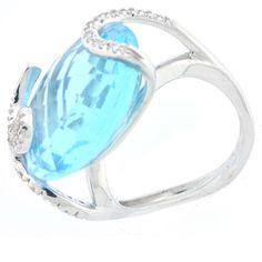 Blue Quartz Diamond Ring in 14k White Gold with Snake Design Setting 0 2 cts TW   eBay