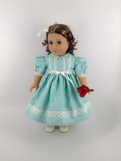 American Girl 18-inch Doll Clothes - Dress and Pantaloons in Turquoise and Cream