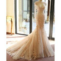 Beautiful Flowers Pink Mermaid Wedding Dress 2016 Beading Appliques Wedding Bridal Gowns Detachable Sleeves vestido de noiva