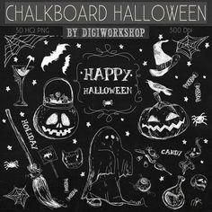 Chalkboard halloween clip art - Chalkboard Halloween This amazing halloween chalkboard elements clipart kit contains 30 different chalkboard