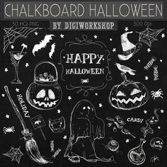 Chalkboard halloween clip art - Chalkboard Halloween    This amazing halloween chalkboard elements clipart kit contains 30 different chalkboard