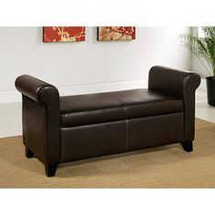 Abbyson Living Melrose Storage Ottoman Bench, Dark Brown Faux Leather