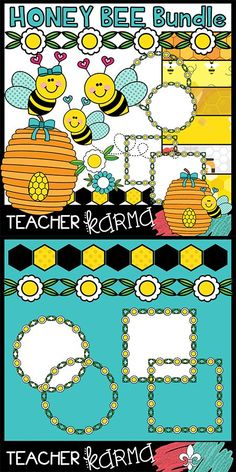 Honey Bee BUNDLE of clipart. It includes graphics, frames, dividers, and digital papers. Perfect for Teachers Pay Teachers sellers and classroom resources. TeacherKarma.com