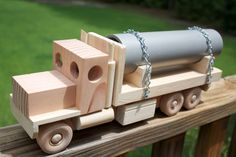 Wooden Flatbed Truck with Pipe by MyGrandpasWoodToys on Etsy, $40.00