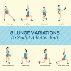 Want to know how to lift and tone your butt? Lunges are good exercises for glutes. Dive into this list of eight butt sculpting lunge variations. Hiit Workout At Home, Floor Workouts, At Home Workouts, Butt Workouts, Song Workouts, Cardio Hiit, Cheer Workouts, Morning Workouts, Treadmill Workouts
