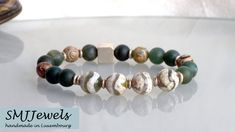 Bracelet fin homme stretch gemmes jade vert onyx noir mat tube hématite argentée