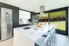 Home Decorators Collection Rugs Kitchen Room Design, Kitchen Cabinet Design, Grey Kitchens, Home Kitchens, Black And Grey Kitchen, Small U Shaped Kitchens, Dirty Kitchen, Interior Minimalista, Minimal Home
