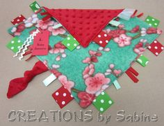 Baby Sensory Tag Blanket Toy / Ribbon Security Blanket / Ribbon Tags / Cherry Blossoms / Flowers / Red Green Asian Zen / READY TO SHIP  by CREATIONSbySabine on Etsy, $16.00