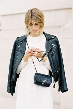 Leather Jacket & Mini Chanel | Street Style #Streetstyle