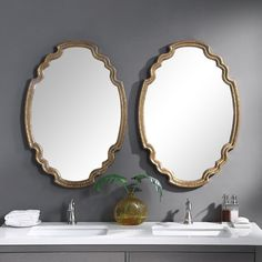 glam home accents Whitson Oval Glam Accent Mirror Uttermost Mirrors, Mirrors Wayfair, Round Wall Mirror, Dresser With Mirror, Mirror Glass, Mirror Mirror, Cottage Wall Mirrors, Painted Fox Home, Mirror Shop