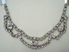 Vintage Rhinestone Necklace 1940's 1950's