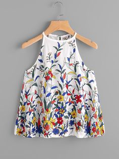 Shop Botanical Print Button Keyhole Back Top online. SheIn offers Botanical Print Button Keyhole Back Top & more to fit your fashionable needs. Girls Fashion Clothes, Fashion Outfits, T Shirt Crop Top, Iranian Women Fashion, Sewing Blouses, Casual Outfits, Cute Outfits, Girls Summer Outfits, Pakistani Dress Design