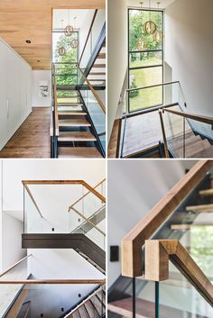 A wall of white cabinetry sits beside these stairs for extra storage, and the stairs themselves have been made from wood and steel, while the glass lets the light shine through.