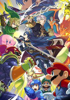 Super Smash Bros - Lucina, Robin, Pikachu, Mario, Luigi, Megaman, Captain Falcon, Kirby, Link, Peach, Charizard