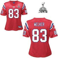 New England Patriots Wes Welker Women Red 2012 Super Bowl Jersey d338a2b56