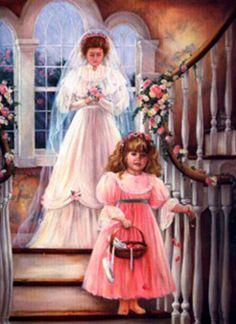 "✿Wedding Day✿ ""Here Comes the Bride"" by Paula Vaughan Wedding Cross, Wedding Art, Wedding Bride, Wedding Dresses, Wedding Album, Wedding Illustration, Silk Ribbon Embroidery, Vintage Girls, Vintage Clip"