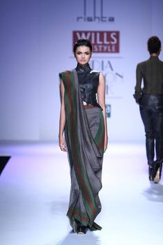Arjun Saluja Black & Grey #Saree 2014.