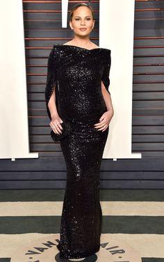 Whoa, Mama! Chrissy Teigen in glittering Talbot Runhof at the Vanity Fair 2016 Oscar Night Party.
