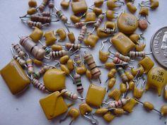 Recycled Electronic Supply. Computer Scrap. Techno Trash Art Supply. Small medium resistors n capacitors. Mustard Yellow n Beige. RR-9