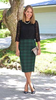 Green tartan midi skirt with a lace blouse