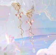 Butterfly Earrings, Flower Earrings, Women's Earrings, Girls Earrings, Silver Earrings, Ear Jewelry, Cute Jewelry, Jewelry Gifts, Jewelery