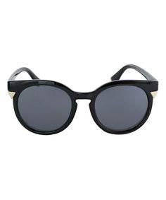 Black Maxine Round Sunglasses