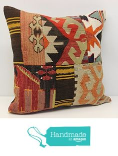 Throw Patchwork kilim pillow cover 18x18 inch (45x45 cm) Handmade Kilim pillow cover Office Decor Accent Hand woven Cushion Cover from Kilimwarehouse https://www.amazon.com/dp/B06VSVSH4H/ref=hnd_sw_r_pi_dp_1QBNybJ6ZV3EX #handmadeatamazon