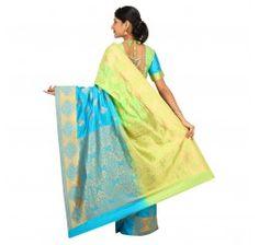 Zari work tusser silk saree in green yellow and blue