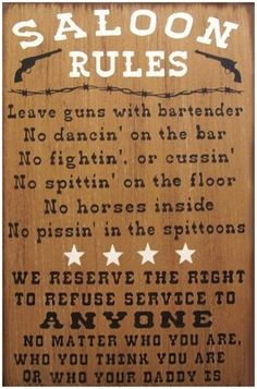 Saloon Rules Western Primitive Rustic Distressed Country Wood Sign Home Decor by CreationsofShabby on Etsy